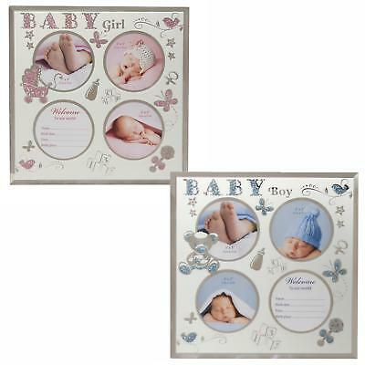 New Baby Glass Multi Aperture Photo Frame with Data Space - Boy or Girl