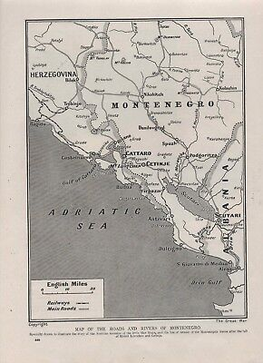 1916 WWI MAP PRINT. Roads/Rivers of Montenegro. Drawn to show Austrian invasion