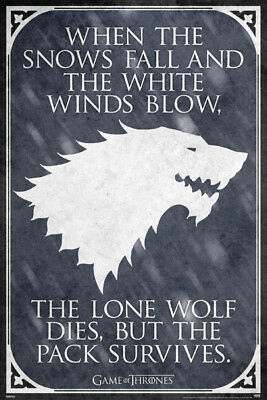 Game Of Thrones Lone Wolf Quote 24X36 Poster Fantasy Drama Hbo Tv Show Stark New