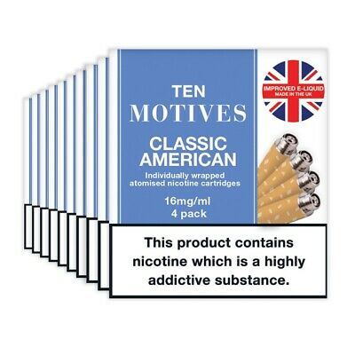 10 Motives Classic American Flavour Refills 10 pack cartridges 16mgSPECIAL OFFER