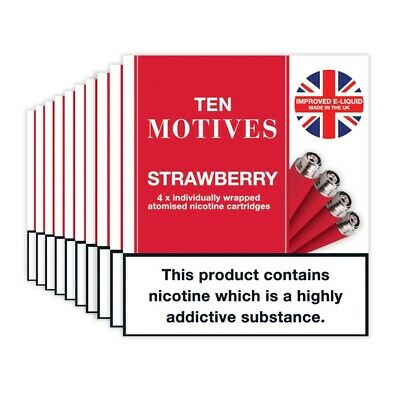 10 Motives Strawberry Flavour Refills 10 pack cartridges 16mg SPECIAL OFFER