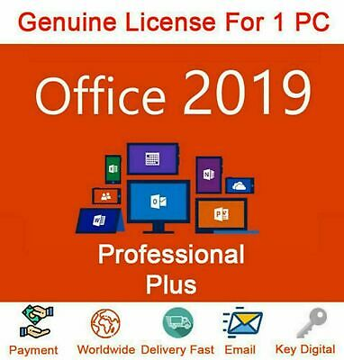 Office 2019 Pro Professional Plus 32/64 Bit   Product key   Instant Delivery