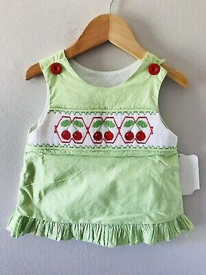 Remember Nguyen Girls Smocked Cherry Top Green size 2t