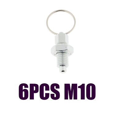 6Pcs M10 Index Plunger with Ring Pull Spring Loaded Retractable Locking Pin