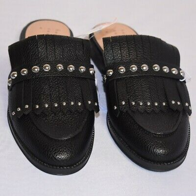 Women's A New Day  Black Stud Kilted Backless Loafer Mule Slip-On Flats all size