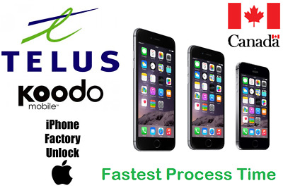 TELUS /KOODO UNLOCK BY IMEI ALL IPHONE MODELS 4S/5/SE/6/6+/6S/6S+/7/7+8/X,XR,Max
