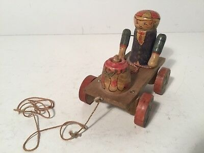 Antique Dutch Wooden Pull Toy, Hand Painted, Very Rare And Unique WORKS!