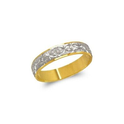 14K Solid Two Tone Gold Star Stamping Wedding Band Fancy Ring 5mm