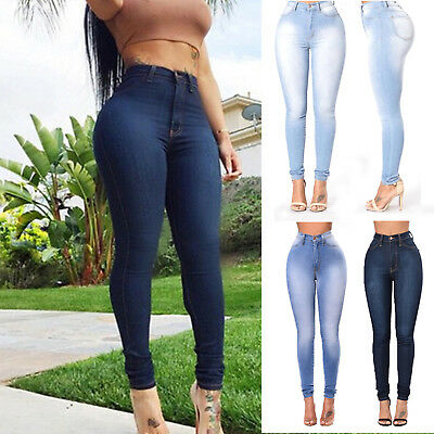 Womens High Waisted Jeans Ladies Stretchy Skinny Jeggings Denim Pants Trousers