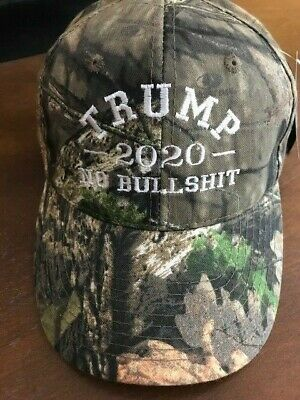 TRUMP 2020 NO BULL $HIT Donald Trump Cap Mossy Oak with White Embroidery