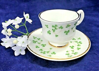 Royal Tara Miniature Tea Cup & Saucer Shamrock Ireland Gold Trim
