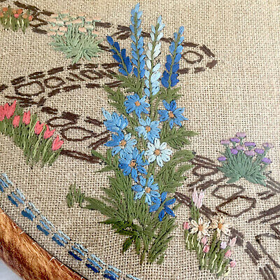 Vintage Embroidery of English Country Cottage & Garden in Round Glazed Frame