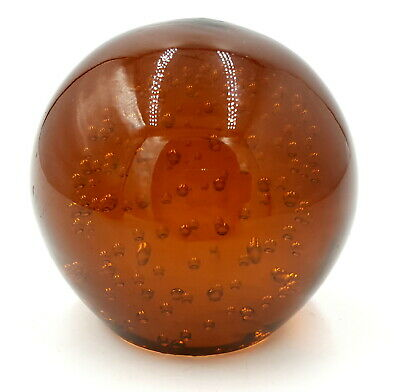 Vintage lAmber controlled bubble Paperweight