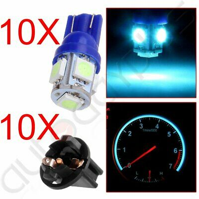 10x Ice Blue 168 194 T10 LED Bulbs w/ Sockets Instrument Gauge Light Replacement