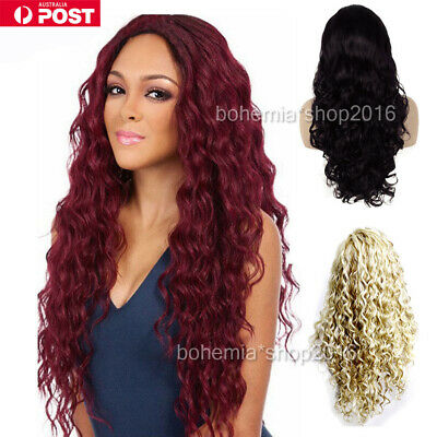 Women Long Wavy Curly Full Hair Wigs Black Brown Lady Synthetic Cosplay Wig AU W