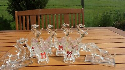 Solid Crystal Ornaments Including Horses ,A Bull & Hands With Roses