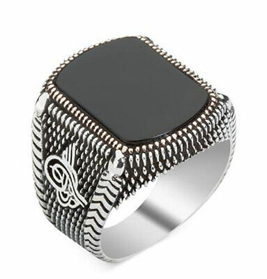 Men's Islamic Turkish Sterling Silver Ring Black Onyx with Tughra