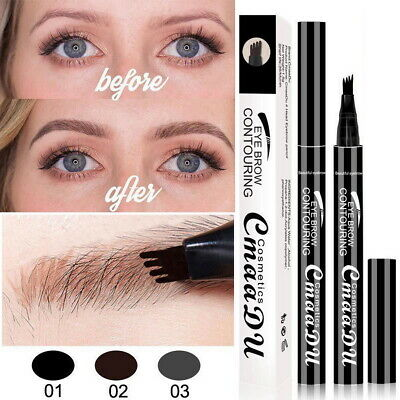 Microblading Tattoo Eyebrow Liquid Ink 4-Fork Pen Waterproof Pencil Brow Definer
