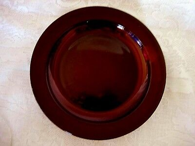 Collectible Vintage Ruby Red Glass Rimmed Dinner Plate - Made in France