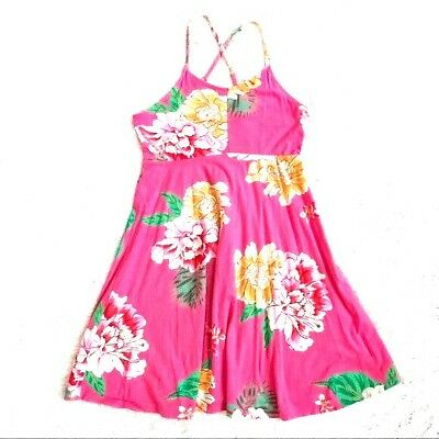 NWT GIRLS OLD NAVY SUN DRESS JERSEY FIT & FLARE CAMI FLORAL SIZE large 10 12