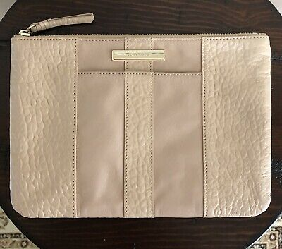 a1de2dac4a COLE HAAN Women's Large Pouch / Clutch / Wallet / Cosmetic Bag Cream Leather
