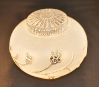 Vtg Frosted Victorian Glass Ceiling Light Lamp Shade Art Deco floral design
