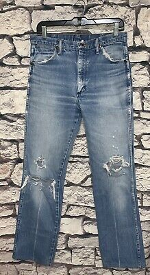e6ae3639 Vintage Faded Distressed Wrangler SLIM Fit Jeans Mens actual sz 32 x 32  (Nice)