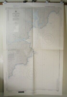 Vintage England South Coast Approaches to Falmouth Nautical Chart DMA 37041 1982