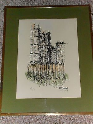 Vintage Original Colored Ink Print Etching of a City Scene Artist's Proof