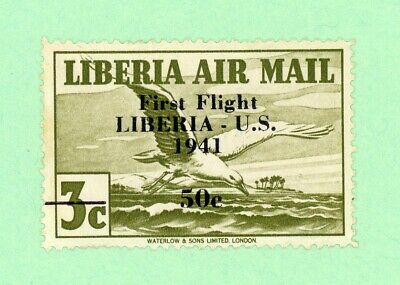 Liberia 1 Stamp, SC C19, Air Post, 50c overprint on 3c, 1941, MNH