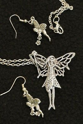"""26"""" Silver Necklace w/ 2"""" Standing Pewter Fairy & Set of Darling Fairy Earrings"""