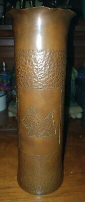 ARTS & CRAFTS COPPER CYLINDER VASE decorated with a Scottie dog, 23cm high