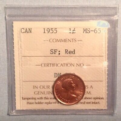 - Canada 1955 One 1 Cent SF Mint Red Unc Uncirculated - ICCS Graded