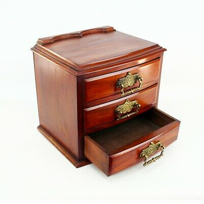 19th Century Mahogany Table Chest with Three Drawers and Drop Brass Handles