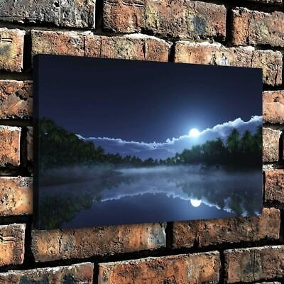 "Nature Moon Woods Lake Reflection HD Canvas prints Home Decor Wall art 16""x20"""