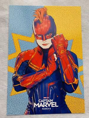 CAPTAIN MARVEL 13x19 Original Promo Movie Poster MINT AMC Brie Larson Rare 2019