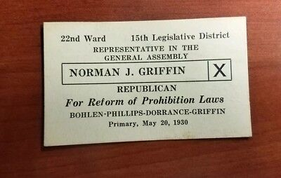 Antique Election business card Norman J Griffin 1930 Republican PA Prohibition