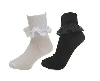3 Pairs Girls Frill Socks Childrens Kids Lace Top Cotton School Baby Ankle Sock