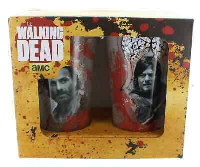 Walking Dead 16 oz. Pint Glass 2-Pack: Bloody Rick and Daryl