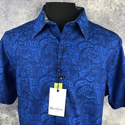 New Robert Graham Classic Fit Short Sleeve Fallen Oaks Blue Sport Shirt Sz L,XL
