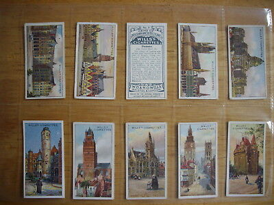 Cigarette Card Set (50) Gems of Belgian Architecture W.D.& H.O. Wills 1915 Orig.