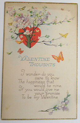 """ANTIQUE """"VALENTINE THOUGHTS"""" POST CARD EARLY 20th CENTURY TEXTURED"""