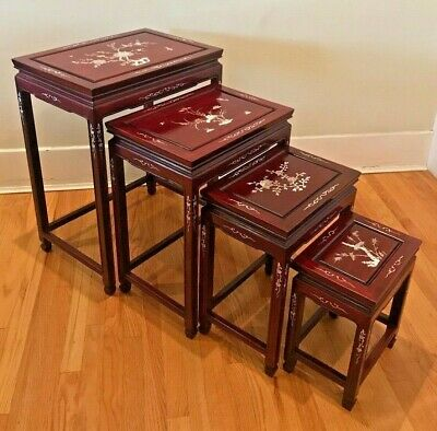 Set of 4 Vintage Chinese Rosewood Nesting Tables w/ Inlaid Mother of Pearl