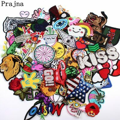 Prajna 30 PCS /lot Random Cute Cartoon Patches Embroidery Iron Stickers For K…