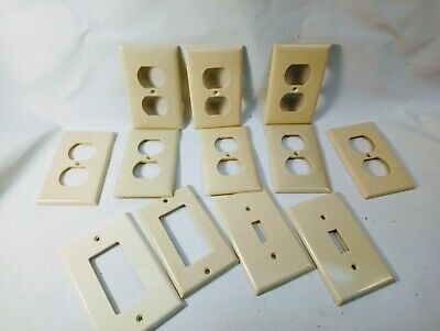 Lot 12 Vintage Ivory Light Switch Wall Plate Cover Ribbed Bakelite Leviton Eagle