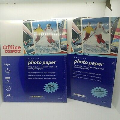Office Depot Photo Paper 2 Packs 8.5 X 11Ink Jet 50 Sheets Total High Gloss New