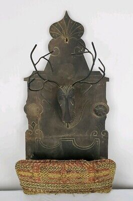 Antique Eastlake Blackforest Folk Art Carved Wall Pocket Mail Holder 3D Stag