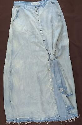 Vintage Havana Small Skirt Chambray Distressed Knot Tied Snap Front Raw Hem