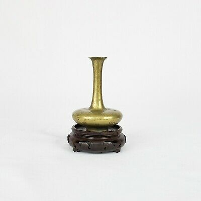 Antique Chinese Or Japanese Miniature Bronze Vase On Carved Wood Stand