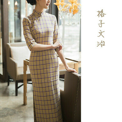 a74fefe3b AUTUMN CHINESE DRESS Cheongsam Pure Cotton Flocking Qipao WanEr ...